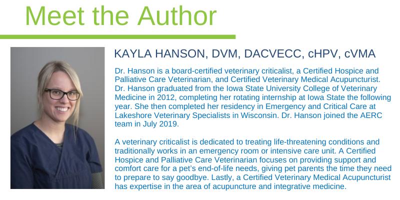 Kayla Hanson, DVM, DACVECC, cHPV, cVMA, Animal Emergency & Referral Center of Minnesota